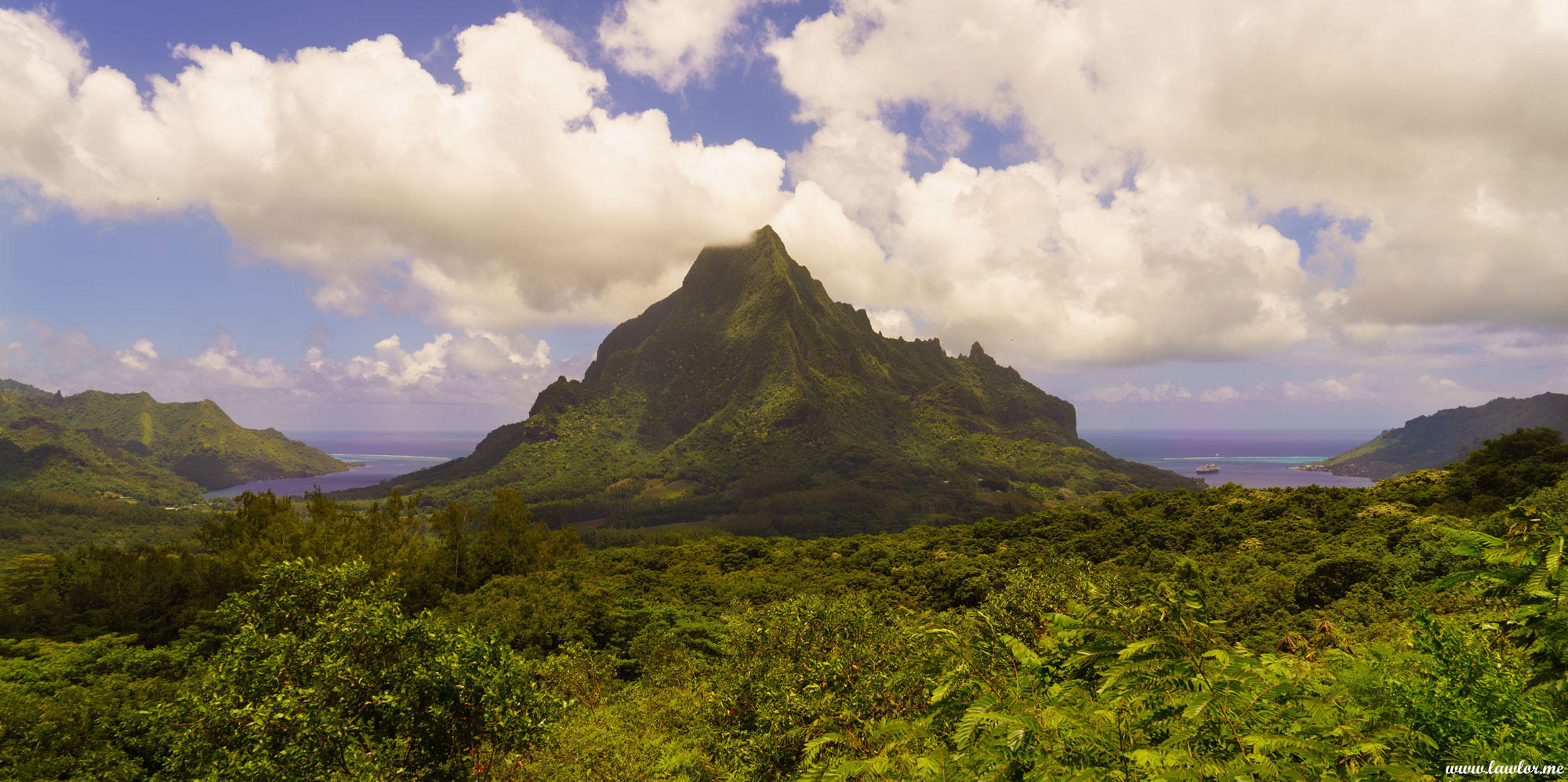 Mount Roto Nui from Belvedere, Moorea - French Polynesia, Free Landscape Photography, free landscape photos, free nature images, free HD images, free high definition stock images, free stock images download, desktop background, desktop wallpapers, free screensaver, landscape photography